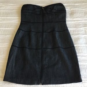 Sweetheart Strapless Dark Denim Zippered Dress